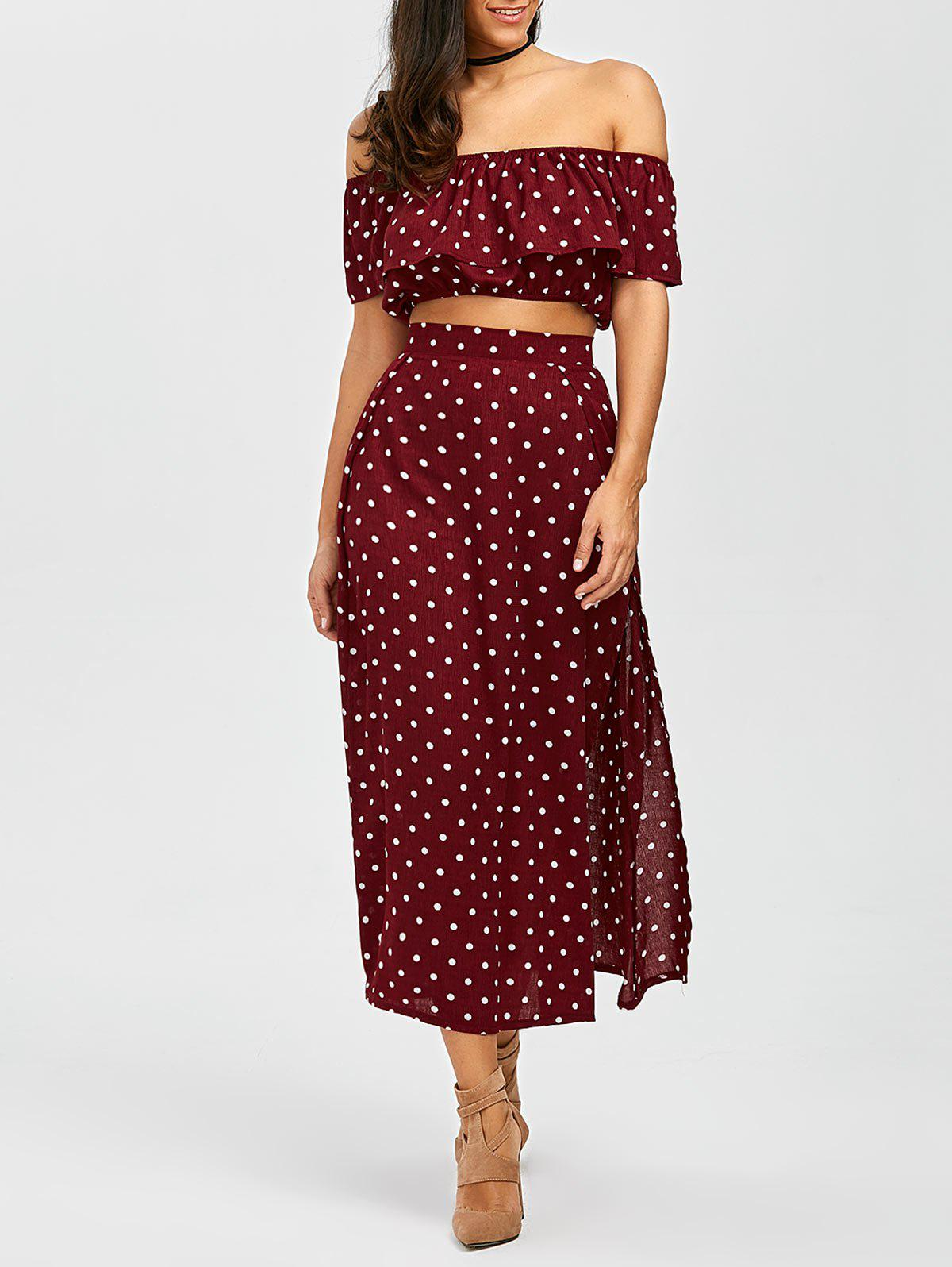 Polka Dot Split Skirt+Flounce Crop Top - DARK RED L