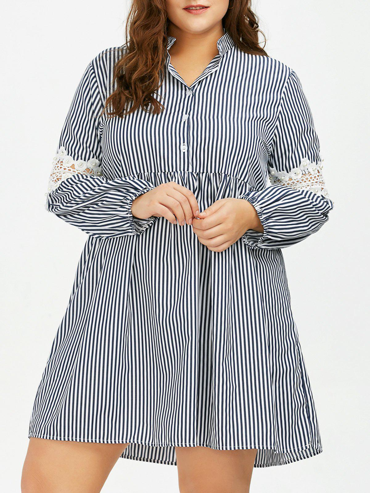 Long Sleeve Plus Size Striped Smock Casual Shirt Dress - GRAY 5XL