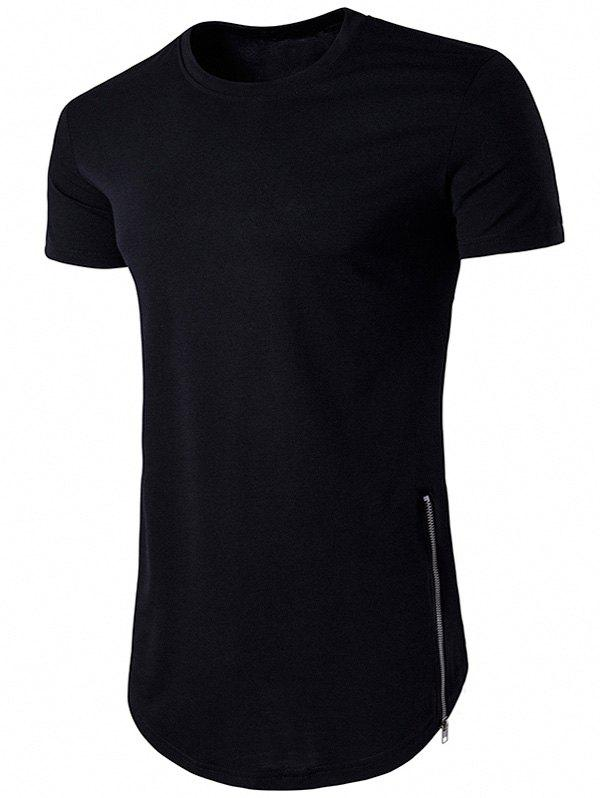 Crew Neck Side Zipper Hem T-Shirt - BLACK M