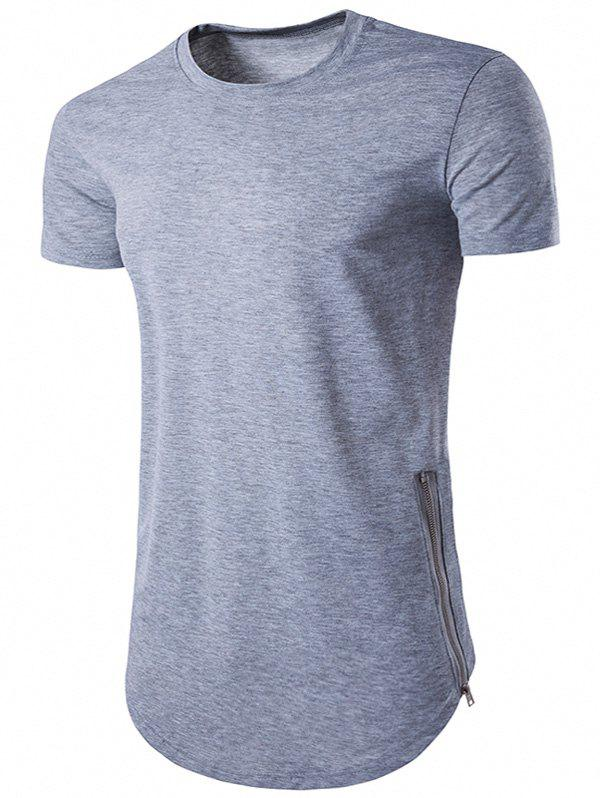 Crew Neck Side Zipper Hem T-Shirt - LIGHT GRAY S