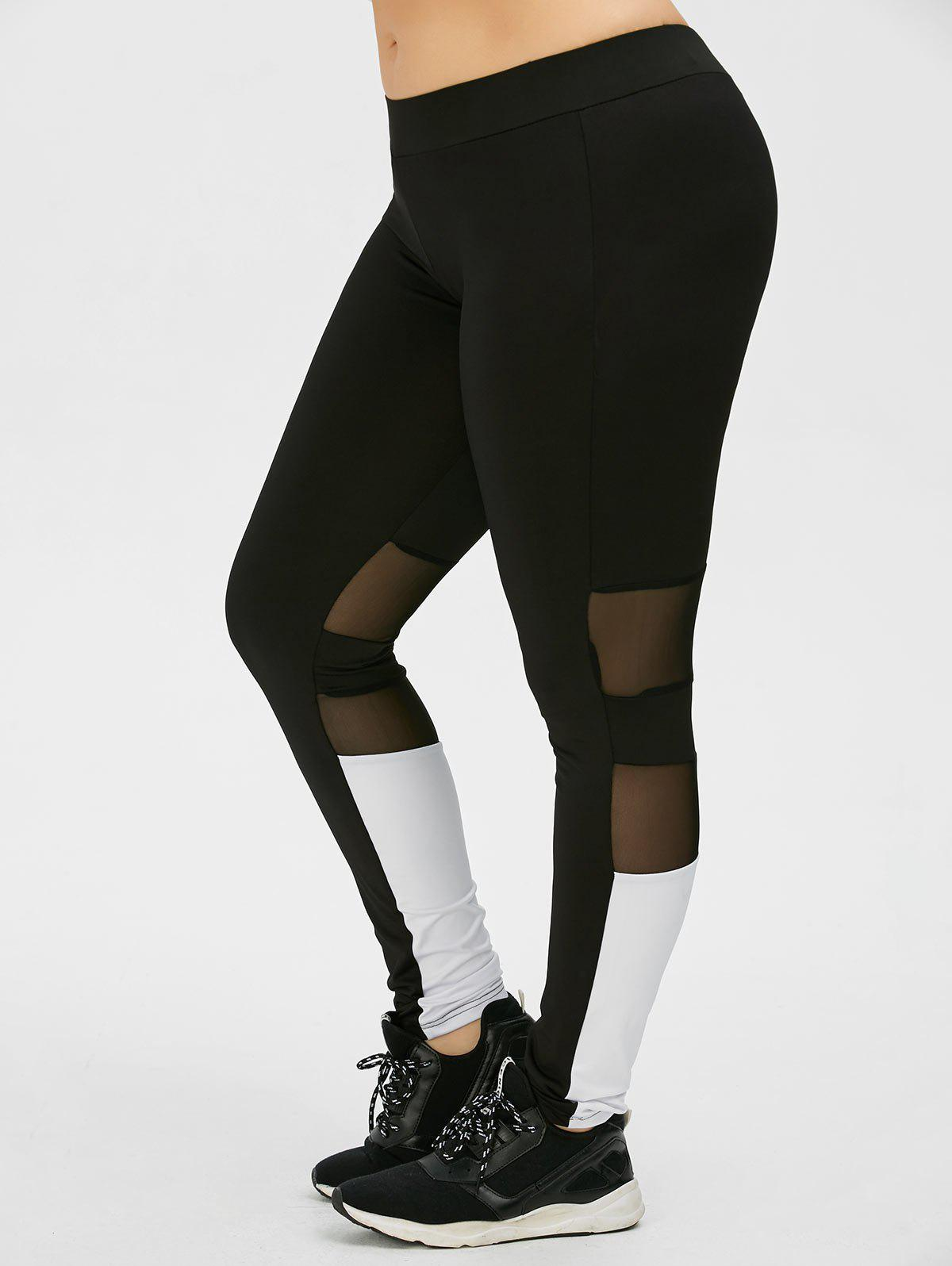 Plus Size Colorblock Mesh Panel Sport Leggings - Noir XL