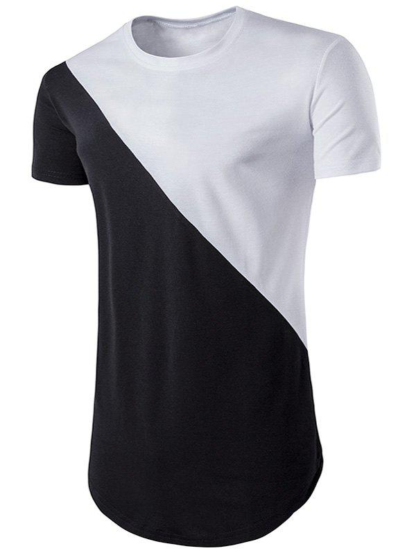 Color Block Geometric Hem T-Shirt - WHITE 2XL