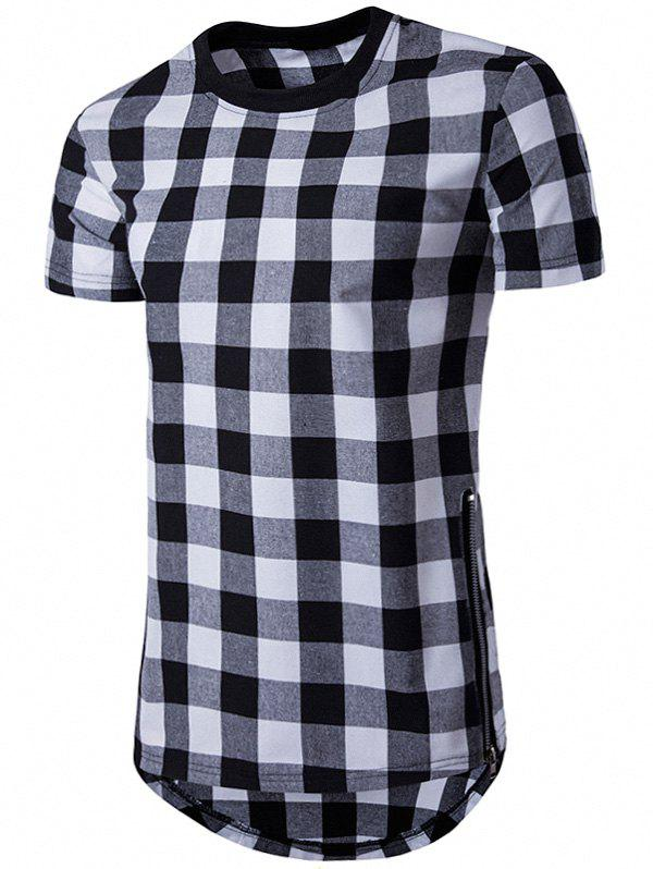 Side Zips Plaid Hem T-Shirt - BLACK M