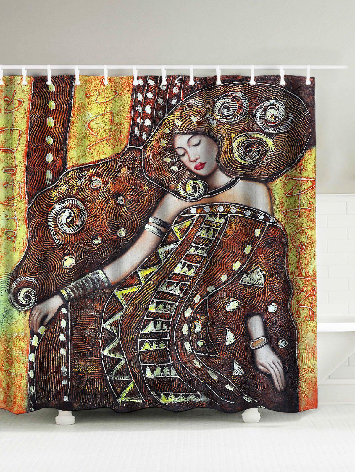 2018 Queen Oil Painting Bath Curtain COFFEE CM In Shower Curtains ...