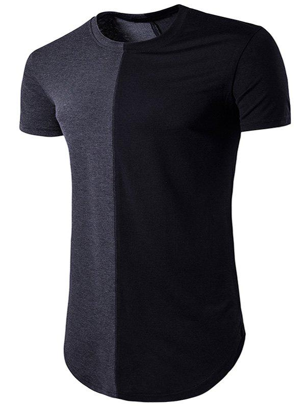 Color Block Crew Neck Hem T-Shirt - DEEP GRAY S
