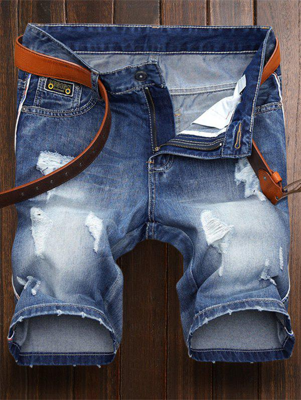 Short Denim Déchiré à Broderie - [
