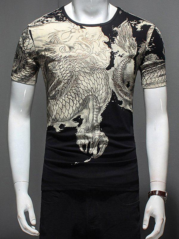 Short Sleeve Dragon Print T-Shirt - BLACK L