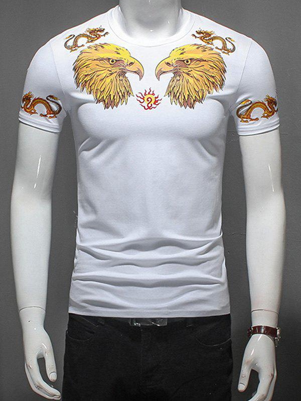 Eagle and Dragon Printed T-Shirt - WHITE 3XL