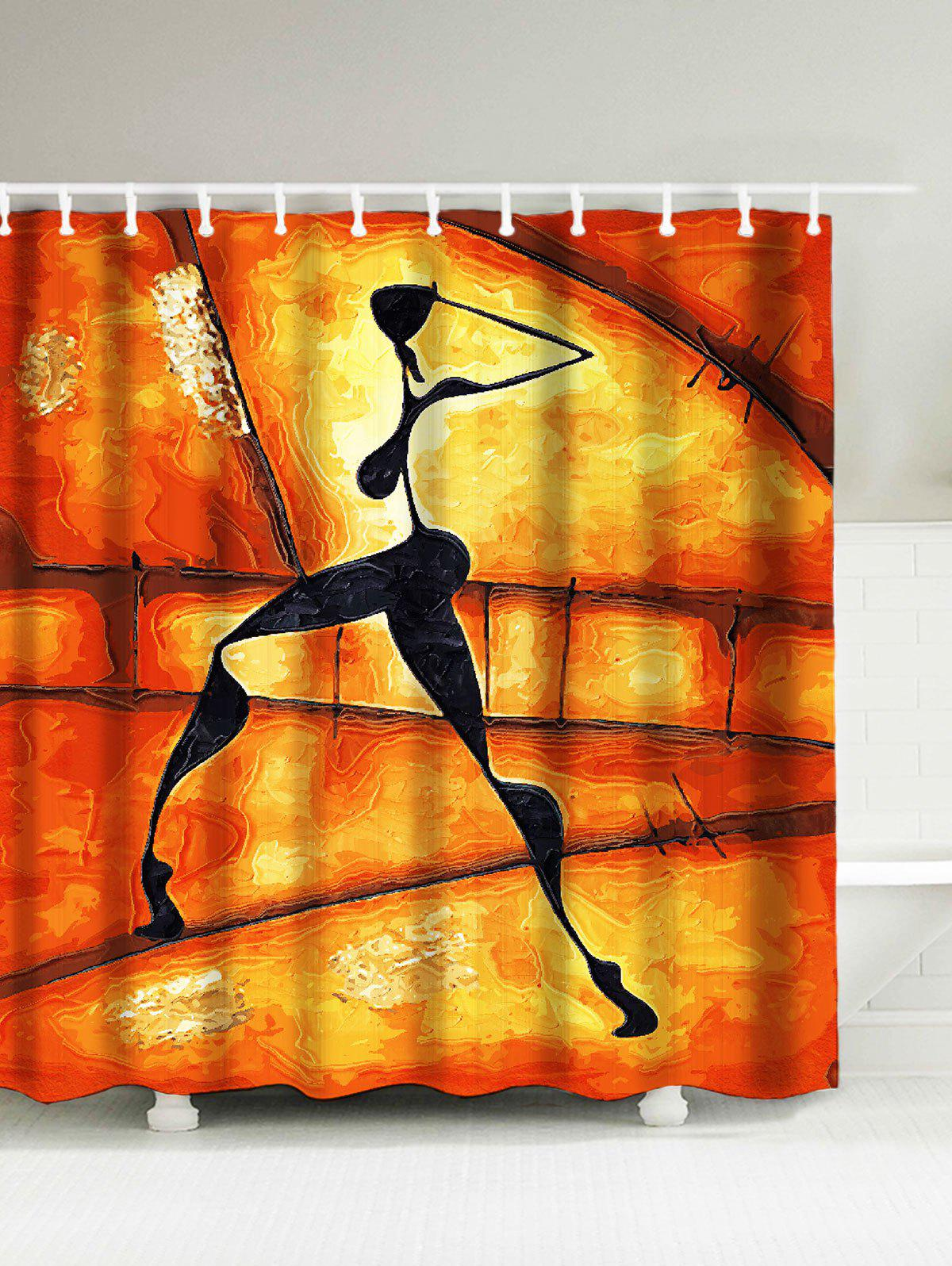 Figure Shadow Print Waterproof Afro Shower Curtain afro hair lady immersed in her own world pattern shower curtain