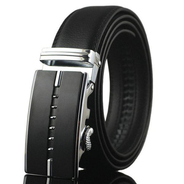 Metallic Rectangle Buckle Faux Leather Belt - SILVER
