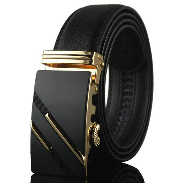 Artificial Leather Diagonal Stripe Metallic Buckle Belt - GOLDEN