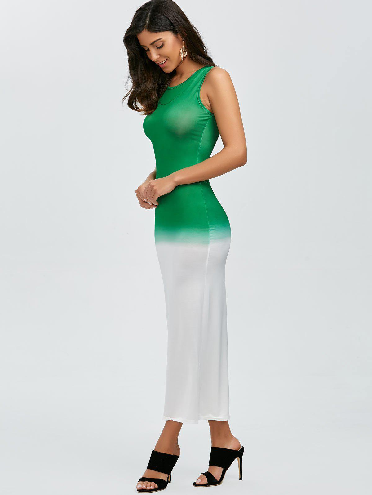 Color Block manches Maxi Dress - Vert L