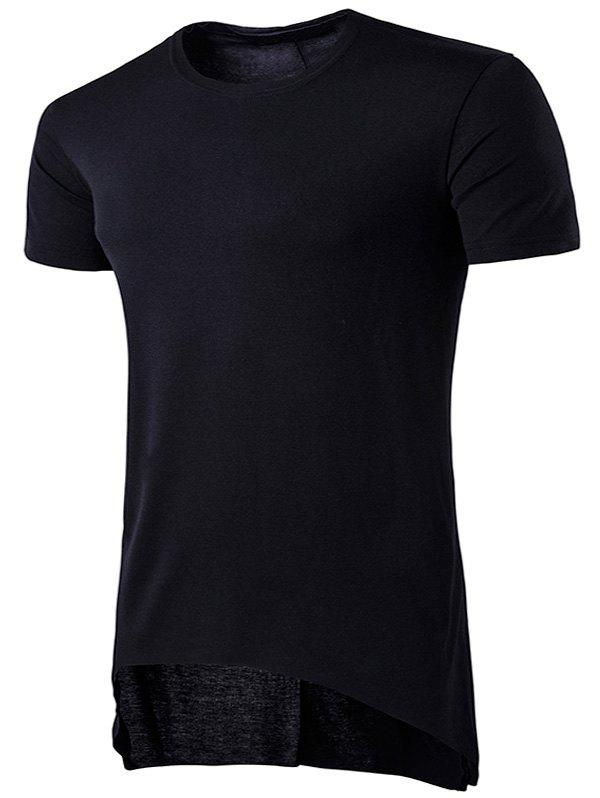 Asymmetric Hem Crew Neck T-Shirt - BLACK L