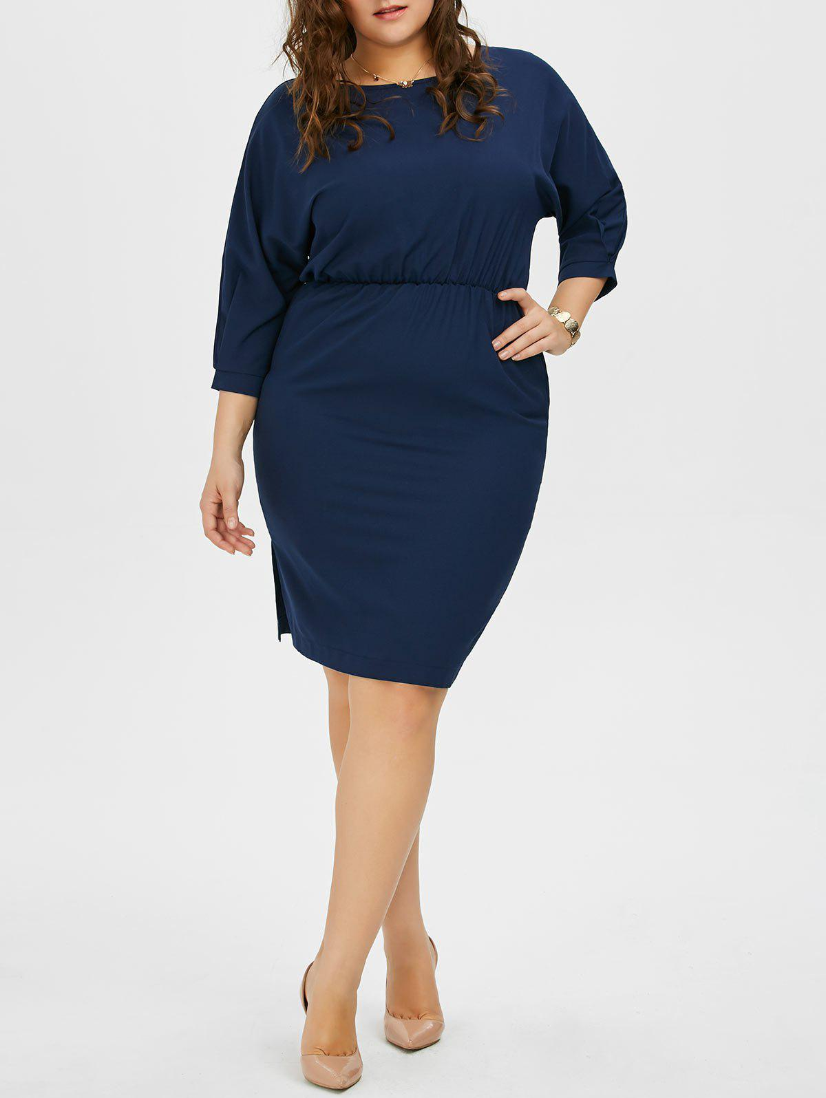 Plus Size Chiffon Dolman Sleeve Elastic Waist Dress - BLUE 4XL