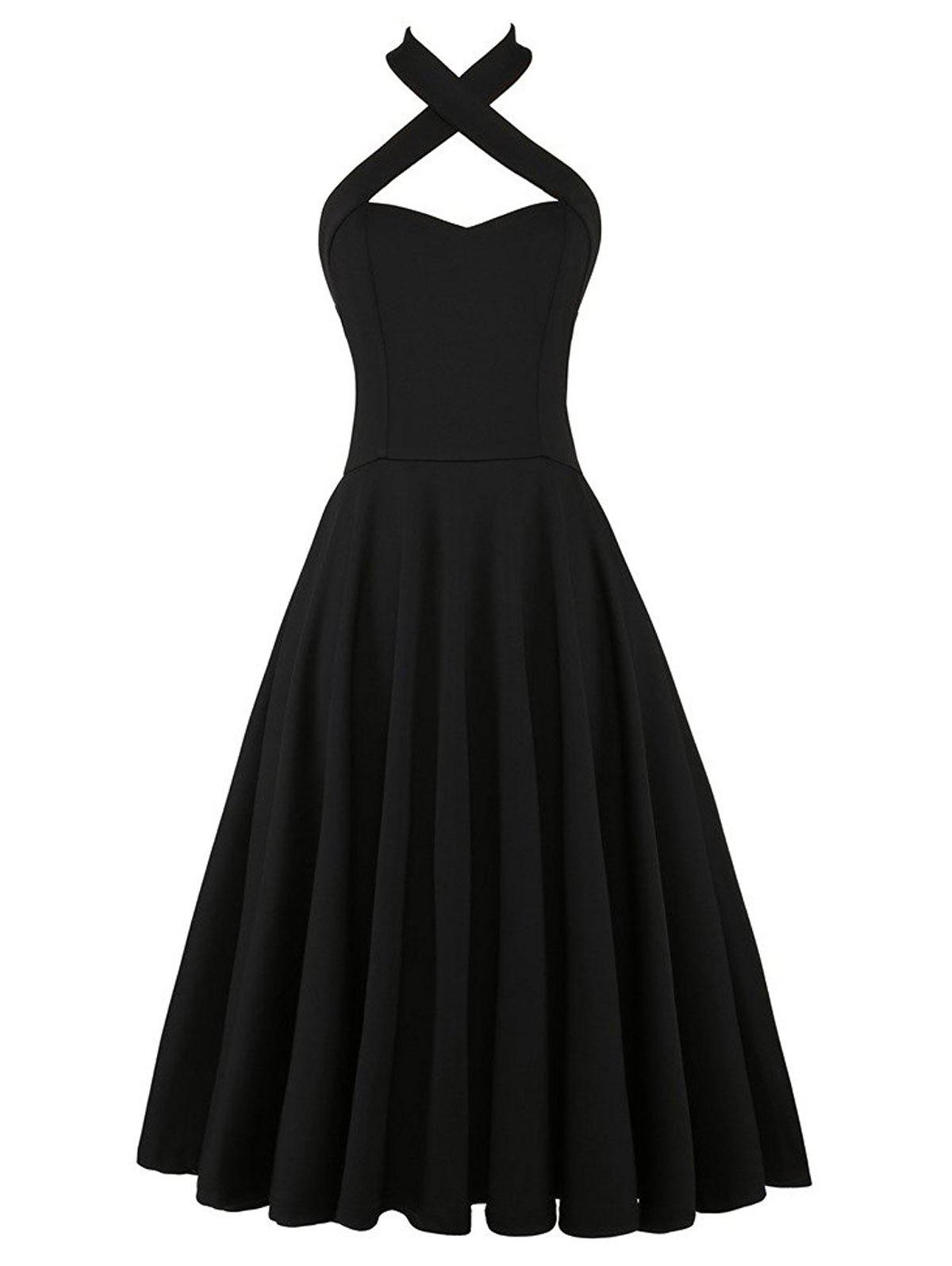 Halter Vintage Criss Cross Swing Pin Up Dress - BLACK 2XL