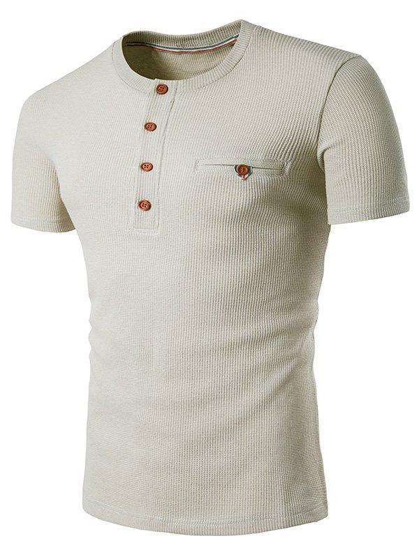 Buttons Fake Pocket Henley T-Shirt - BEIGE S