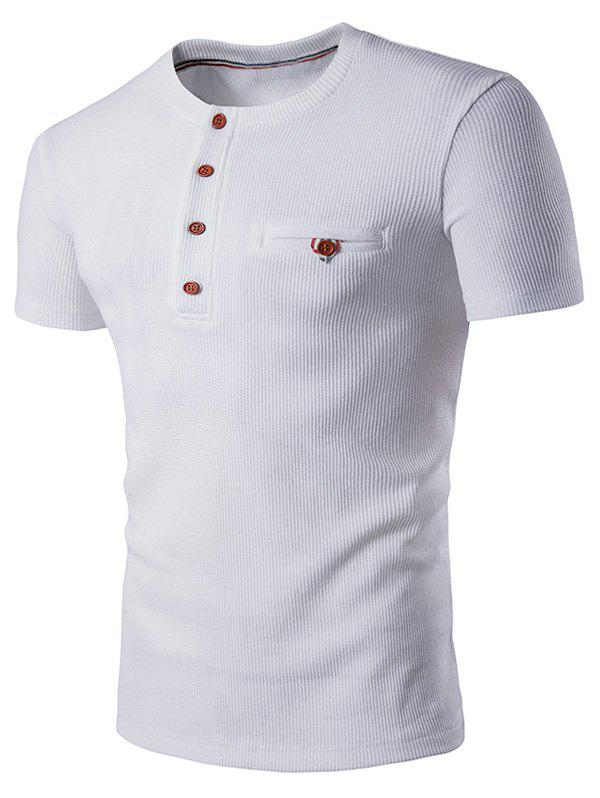 Buttons Fake Pocket Henley T-Shirt - WHITE 2XL