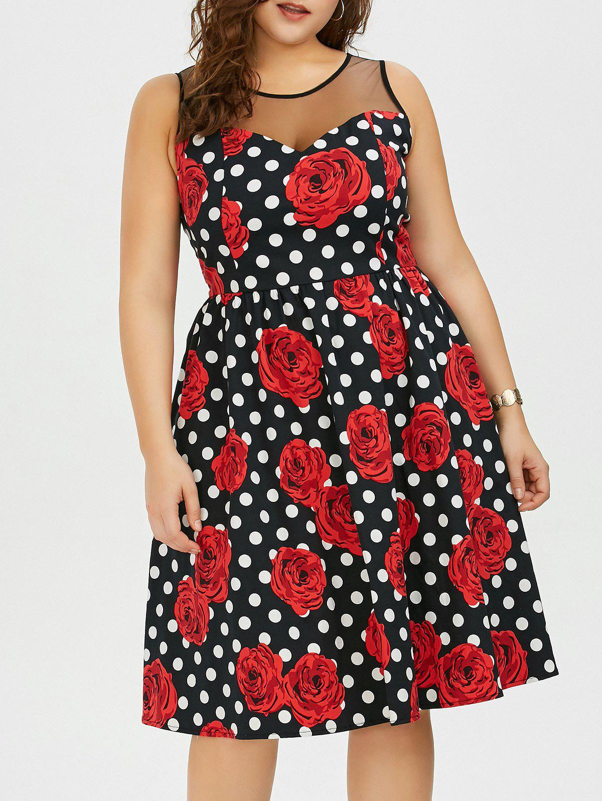 Plus Size Floral and Polka Dot Bridesmaid Dress - BLACK/WHITE/RED 2XL