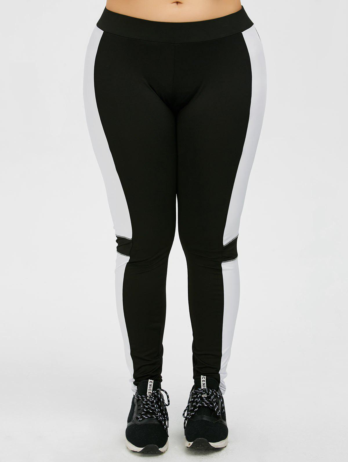 Plus Size Color Panel Workout Leggings - BLACK 2XL