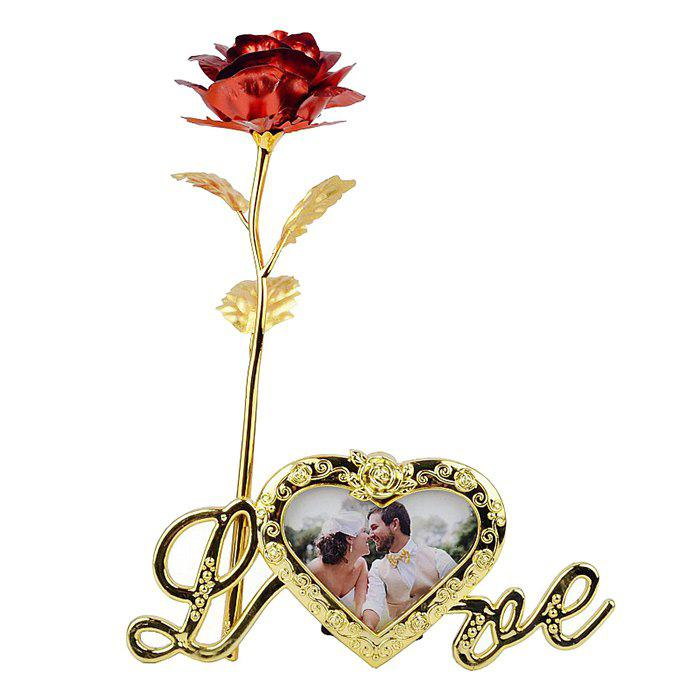 Artificial Rose Flower with Photo Frame Holder - RED