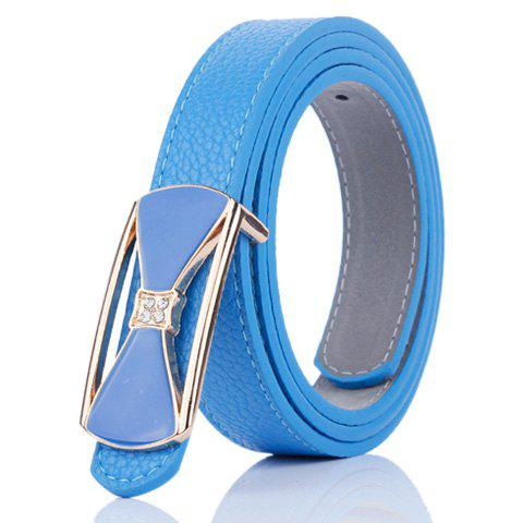 Metal Bowknot Plate Buckle Faux Leather Belt - BLUE
