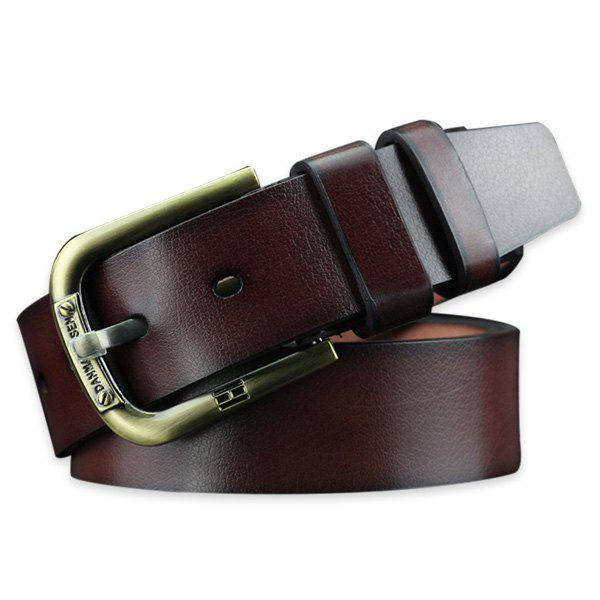 Vintage Pin Buckle Faux Leather Belt - COFFEE