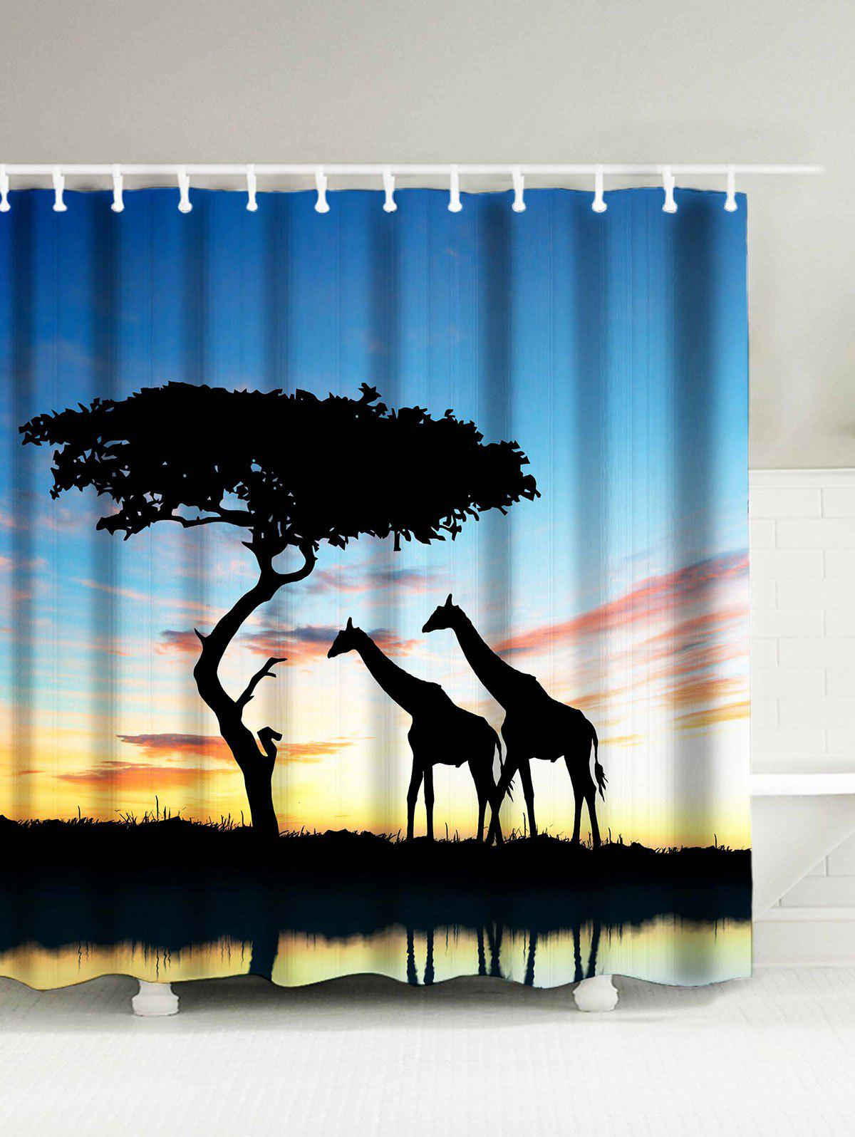 Giraffe Print Water Resistant Afro Shower Curtain