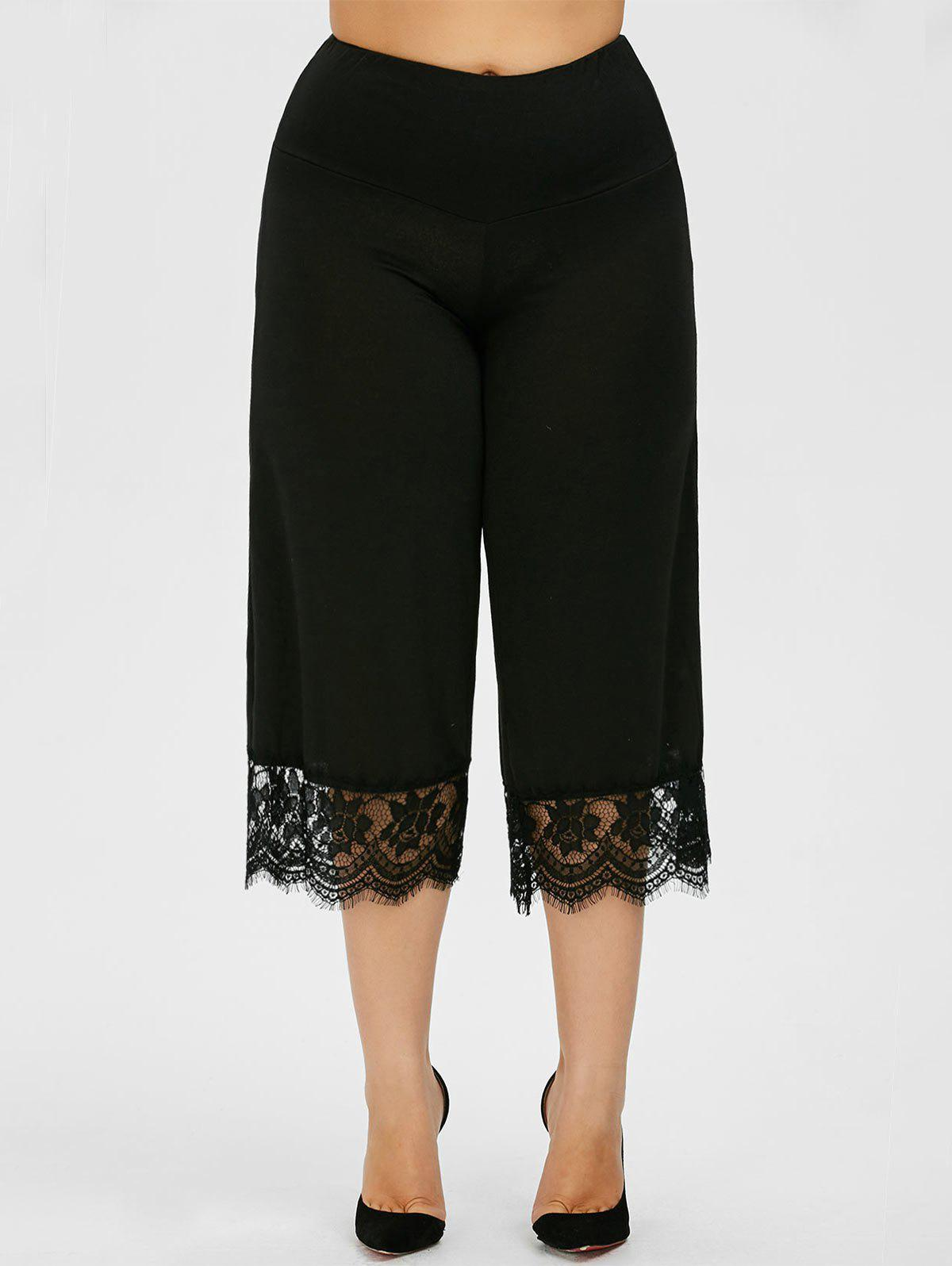 Lace Trim Plus Size Capri Palazzo Pants - BLACK 3XL