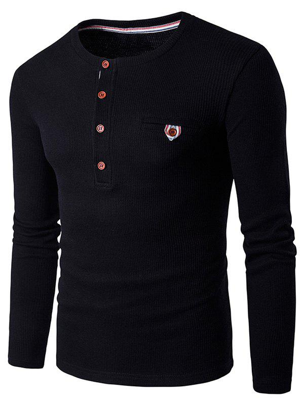 Fake Pocket Long Sleeve Henley T-Shirt - BLACK XL