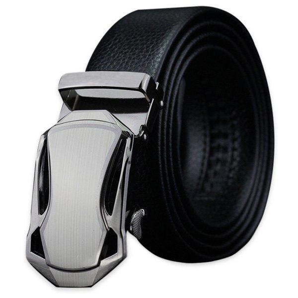 Polished Geometric Metal Buckle Fake Leather Belt - BLACK