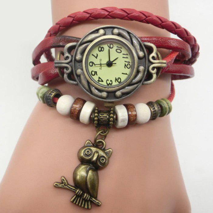 Owl Number Vintage Bracelet Watch - RED