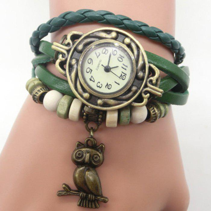 Owl Number Vintage Bracelet Watch - GREEN