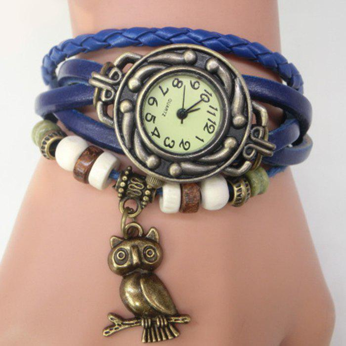 Owl Number Vintage Bracelet Watch - BLUE