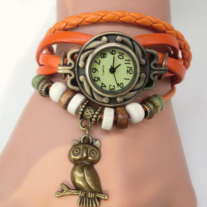 Owl Number Vintage Bracelet Watch - ORANGE