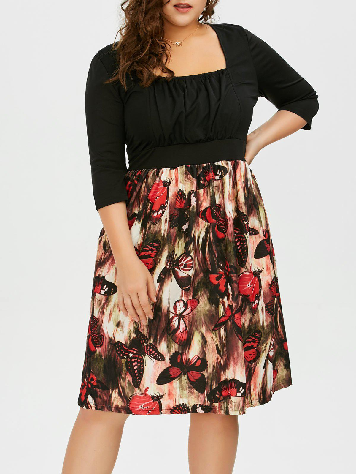 Plus Size Square Neck Butterfly Printed A Line Dress - BLACK 2XL