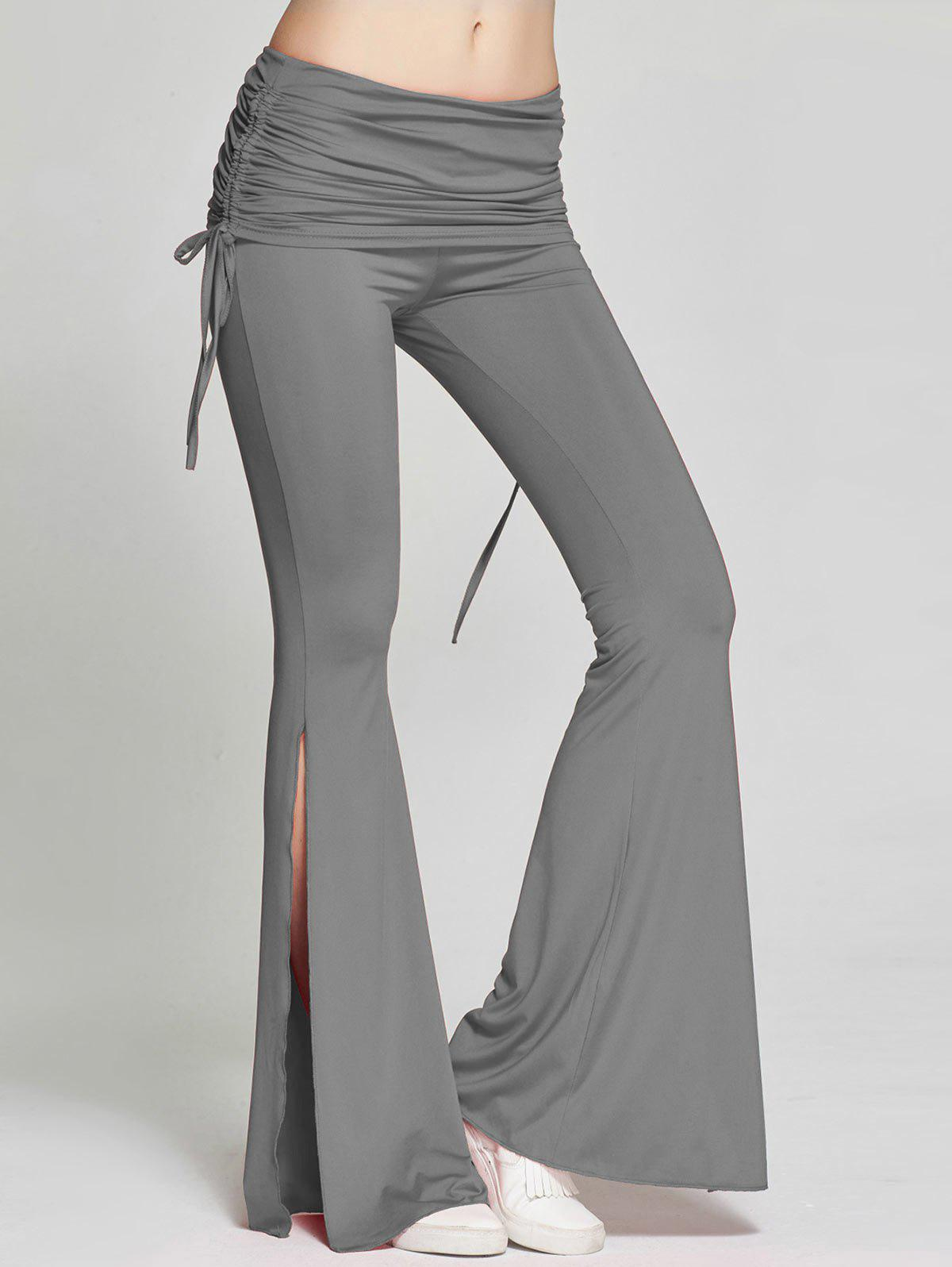 High Slit Flare Bell Bottom Yoga Pants, GRAY, L in Pants ...