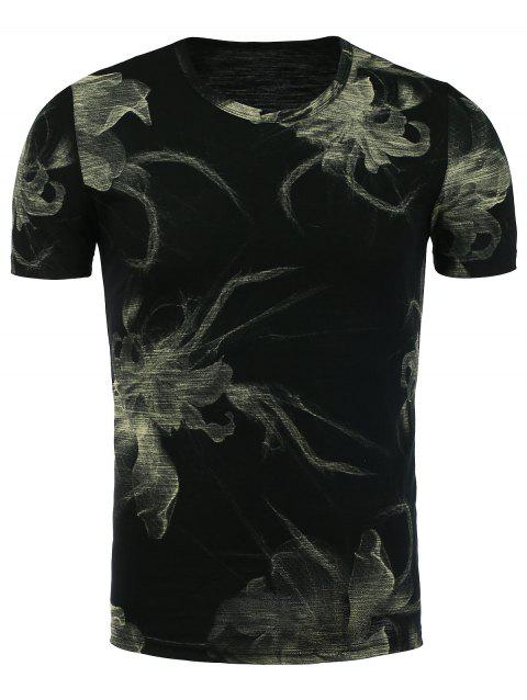 Floral Printed Short Sleeve Tee - BLACK 3XL