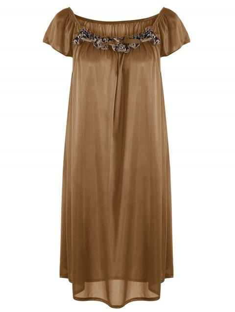 Embroidered Cap Sleeve Babydoll - GOLD BROWN M