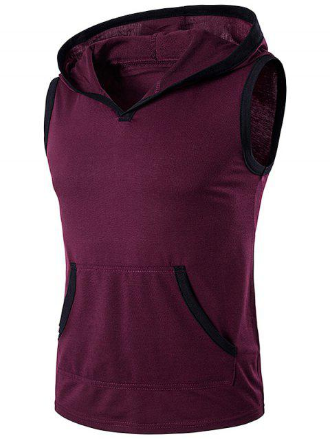 Hooded Sleeveless Pocket T-Shirt - WINE RED XL