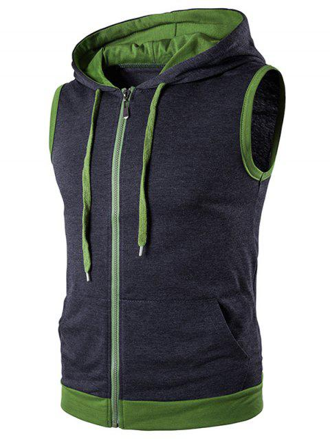 Zip Up Tank Top capuche - gris foncé L