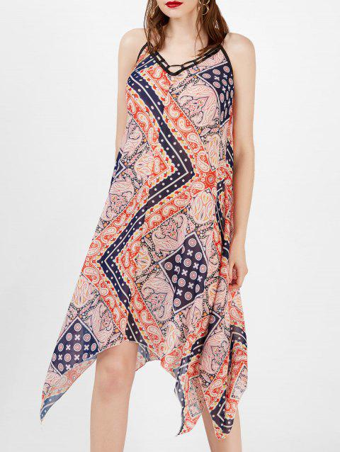 Spaghetti Strap Printed Handkerchief Bohemian Dress - multicolore S
