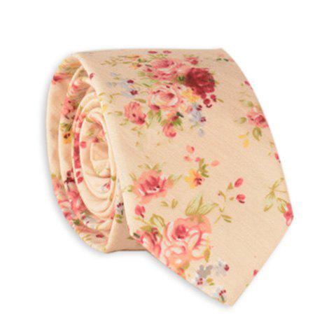 Rose Bouquet Printing Neck Tie - LIMEADE