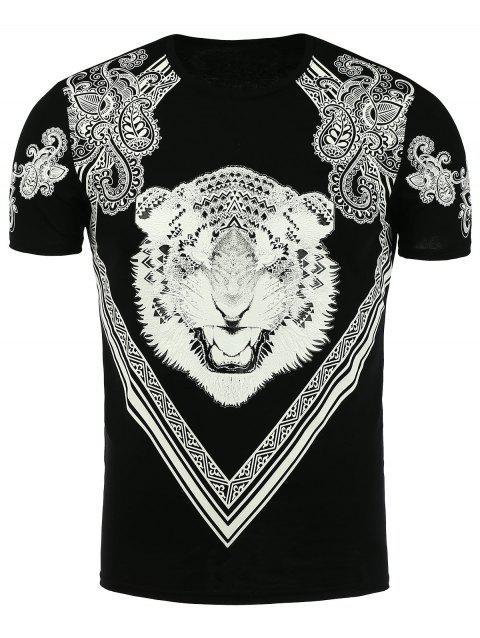 Paisley and Tiger Print T-Shirt - BLACK 2XL