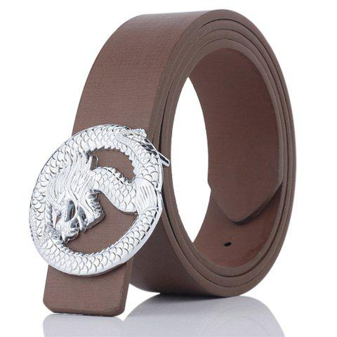 Dragon Shape Covered Buckle Wide Belt - COFFEE