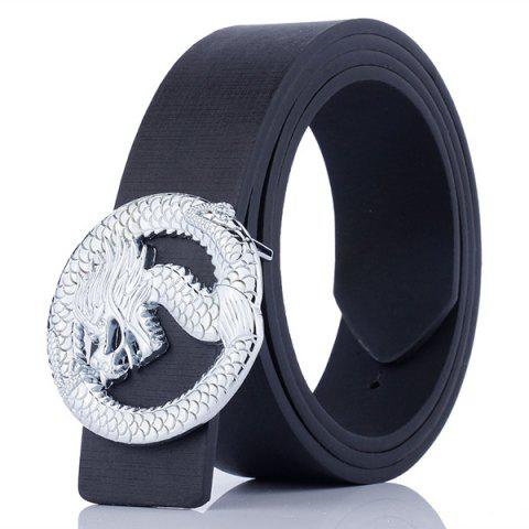 Dragon Shape Covered Buckle Wide Belt - BLACK