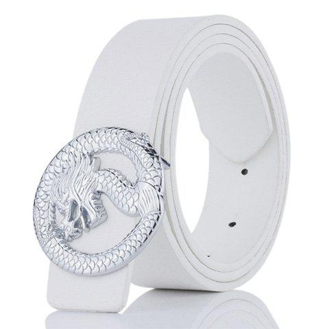 Dragon Shape Covered Buckle Wide Belt - WHITE