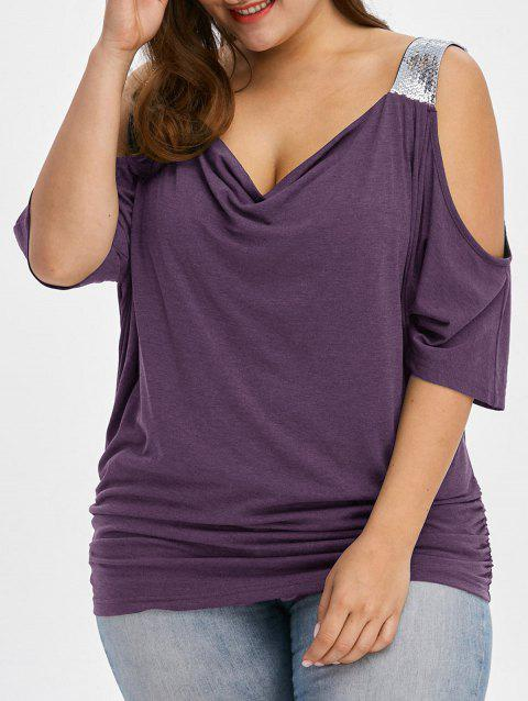 Plus Size Cold Shoulder Sequined Trim T-Shirt - PURPLE 2XL