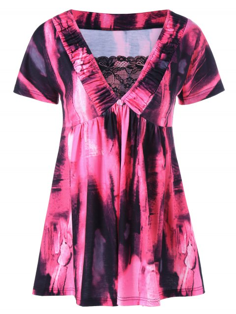 V Neck Tie Dye Tunic Blouse - ROSE RED M