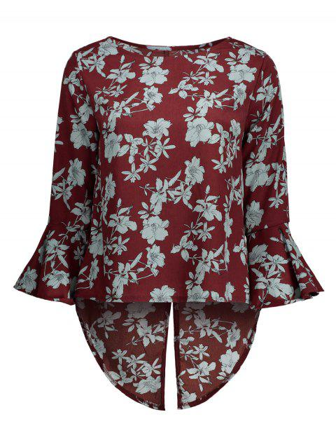 High Low Floral Print Blouse - WINE RED L