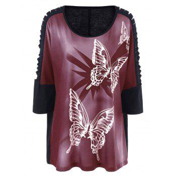 Plus Size Butterfly Print Ripped Long T-Shirt - BRICK-RED BRICK RED